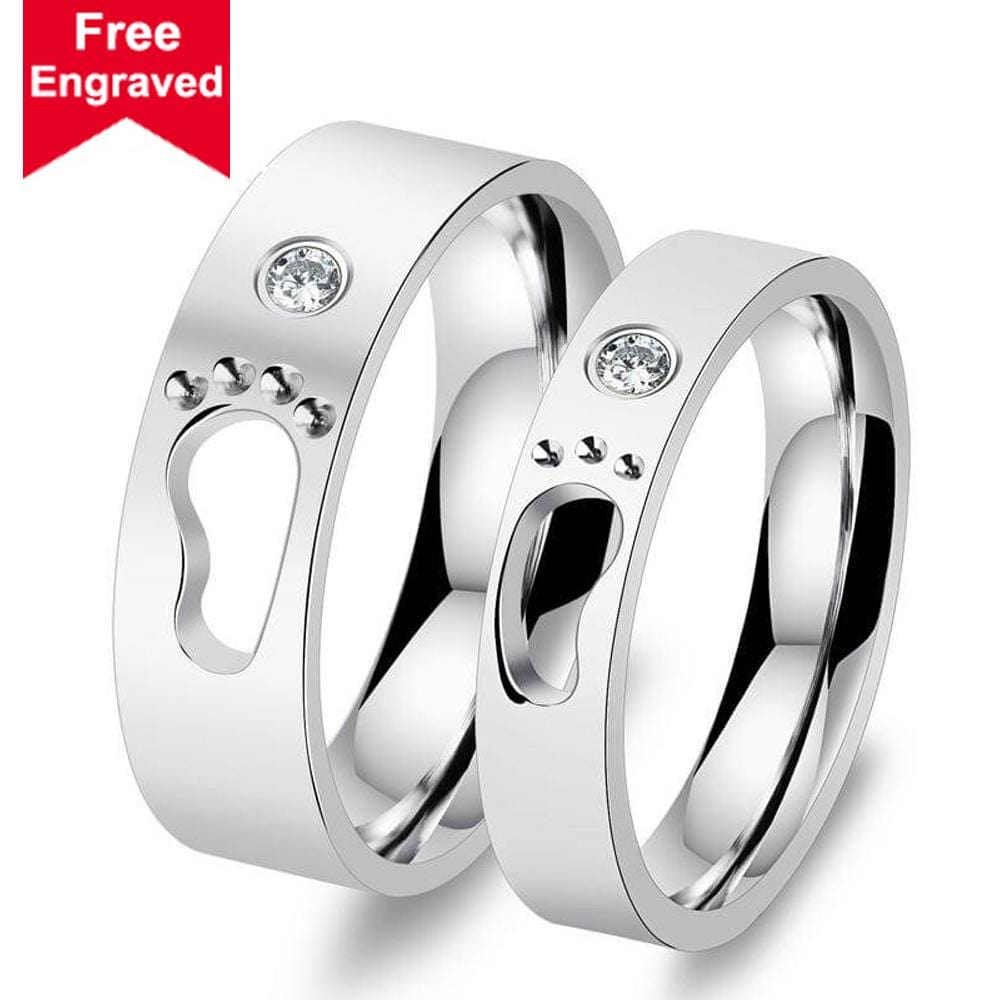 Anniversary Ring for Couple Stainless Steel Love Footprint Engagement Rings Silver Crystal