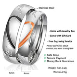 [Custom] Couple Matching Heart Wedding Bands Engagement Rings Stainless Steel Half Heart Silver