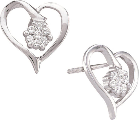 0.16CT Diamond 10K White Gold Heart Earrings:
