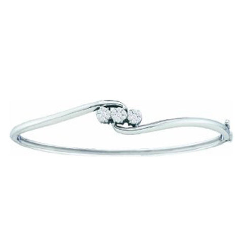 0.25CT Diamond 14K White Gold Flower Cluster Bangle Bracelet: