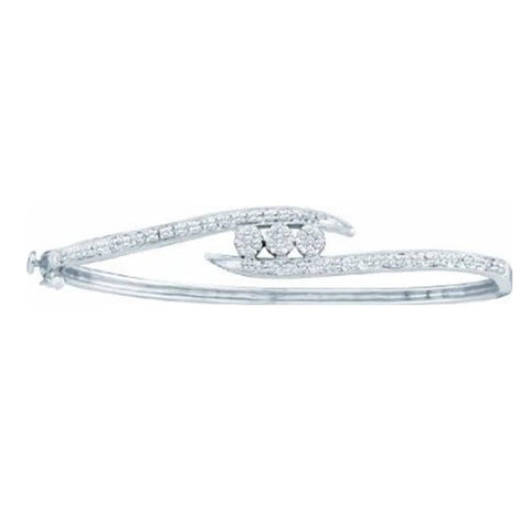 0.51CT Diamond 14K White Gold Flower Cluster Bangle Bracelet(He):