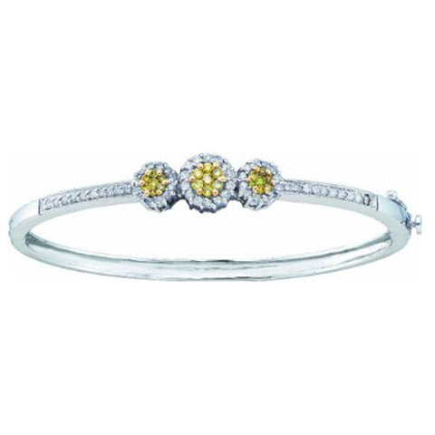 1.03CT Diamond 14K White Gold Flower Cluster Bangle Bracelet: