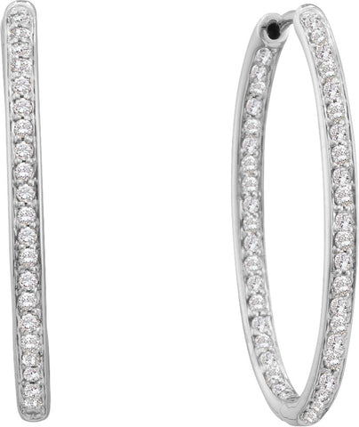 0.51CT Diamond 14K White Gold Hoop Earrings: