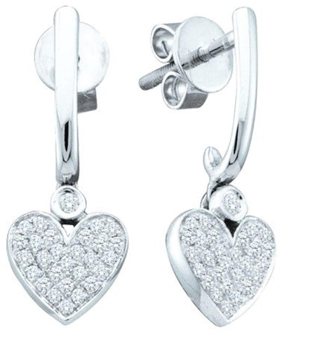 0.24CT Diamond 10K White Gold Heart Earrings: