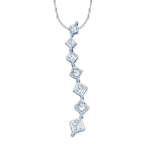 0.25CT Diamond 14K White Gold Journey Pendant: