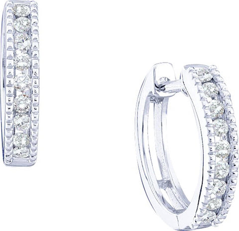 0.28CT Diamond 10K White Gold Hoop Earrings: