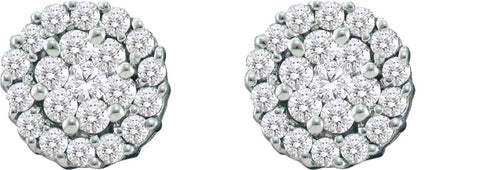 0.76CT Diamond 14K White Gold Flower Cluster Earrings: