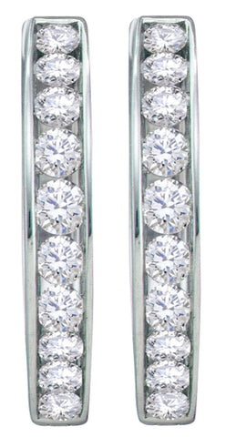1.47CT Diamond 14K White Gold Hoop Earrings: