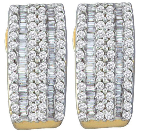 0.99CT Diamond 14K Yellow Gold Earrings: