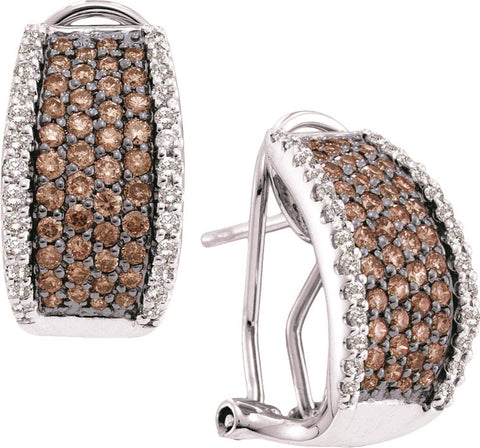1.51CT Chocolate Brown/White Diamond 14K White Gold Earrings:
