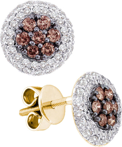 0.77CT Chocolate Brown/White Diamond 14K White Gold Earrings: