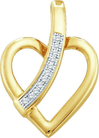 0.03CT Diamond 10K Yellow Gold Heart Pendant: