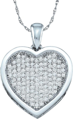 0.33CT Diamond 10K White Gold Heart Pendant: