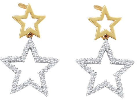 0.25CT Diamond 10K White Gold Star Earrings: