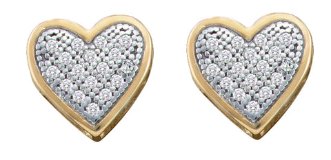 0.1CT Diamond 10K White Gold Heart Earrings: