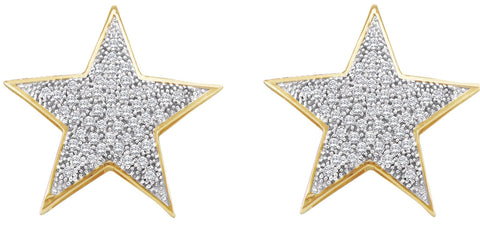 0.25CT Diamond 10K Yellow Gold Star Earrings: