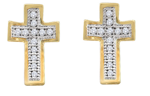 0.1CT Diamond 10K Yellow Gold Cross Earrings: