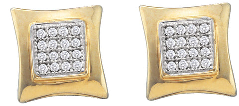 0.1CT Diamond 10K Yellow Gold Micro Pave Earrings: