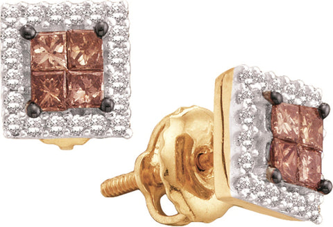 0.33CT Chocolate Brown/White Diamond 14K Yellow Gold Invisible Earrings: