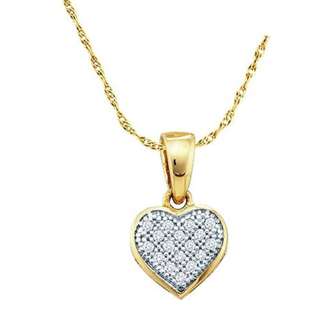 0.05CT Diamond 10K Yellow Gold Heart Pendant: