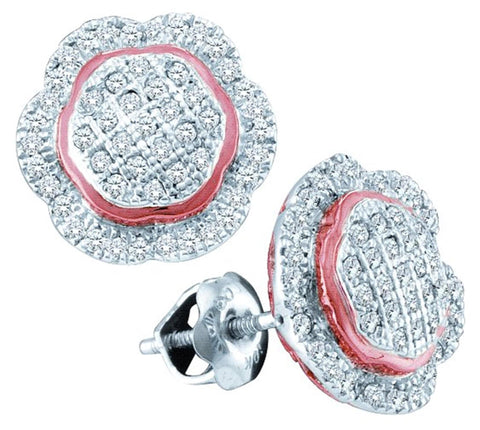 0.35CT Diamond 10K White Gold Micro Pave Earrings: