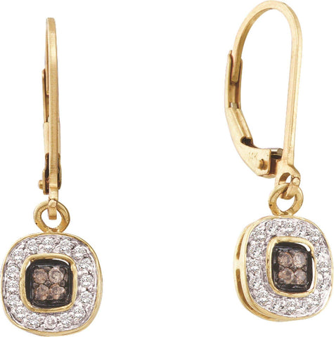 0.23CT Chocolate Brown/White Diamond 14K Yellow Gold Earrings: