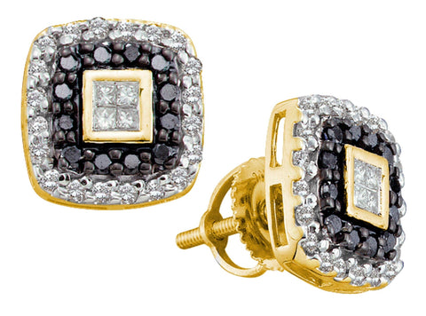 0.51CT Black/White Diamond 14K Yellow Gold Earrings: