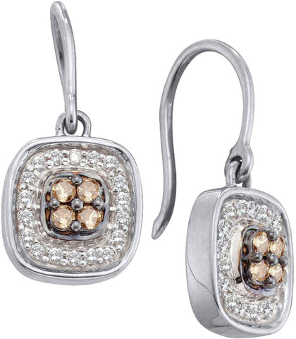 0.33CT Chocolate Brown/White Diamond 14K White Gold Earrings:
