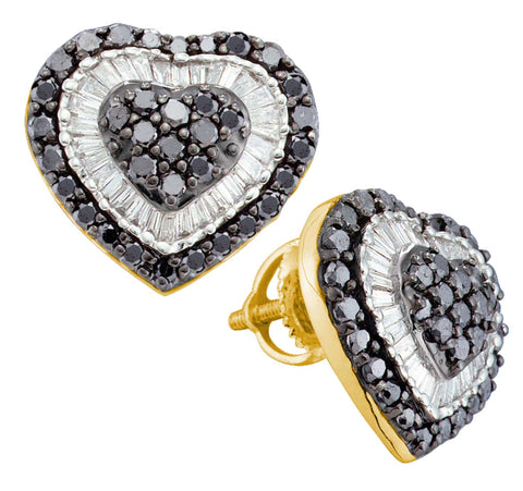1.50CT Black/White Diamond 14K Yellow Gold Heart Earrings: