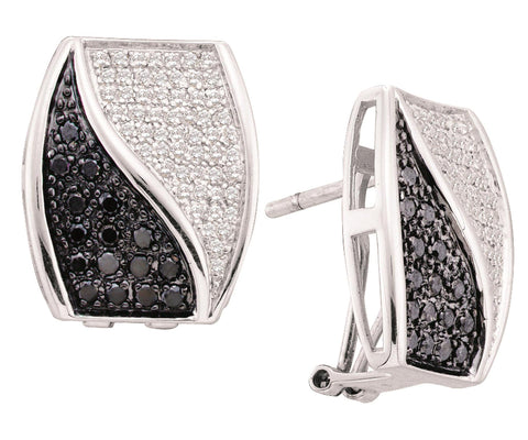 0.98CT Black/White Diamond 14K White Gold Earrings: