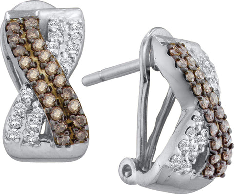 0.53CT Chocolate Brown/White Diamond 14K White Gold Earrings: