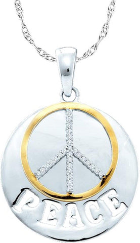 "0.1CT Diamond 925 Sterling Silver """"Peace"""" Pendant:"