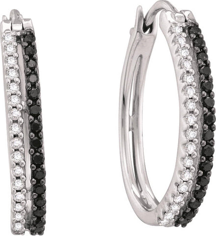 0.51CT Black/White Diamond 14K White Gold Hoop Earrings:
