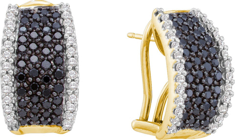 1.52CT Black/White Diamond 14K Yellow Gold Earrings: