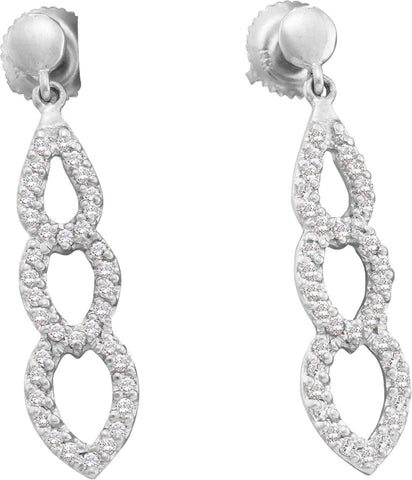 0.37CT Diamond 14K White Gold Earrings: