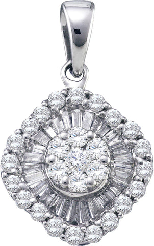 0.75CT Diamond 14K White Gold Flower Cluster Pendant: