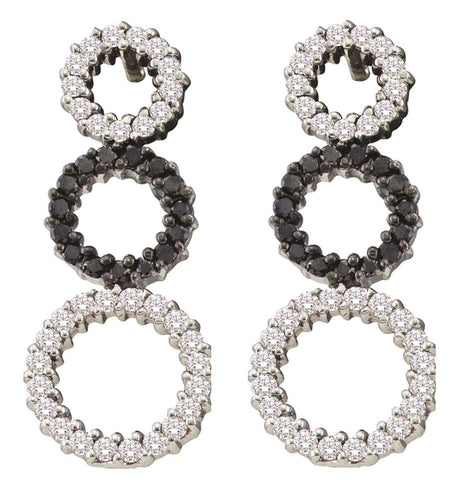 0.78CT Black/White Diamond 14K Yellow Gold Earrings: