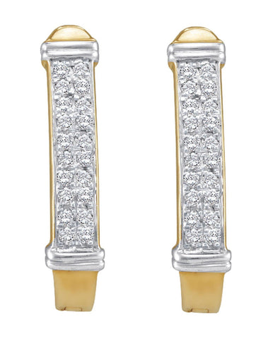 0.15CT Diamond 10K Yellow Gold Micro Pave Hoop Earrings: