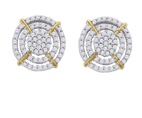 0.4CT Diamond 10K White Gold Micro Pave Earrings: