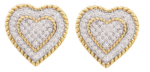 0.33CT Diamond 10K Yellow Gold Heart Earrings: