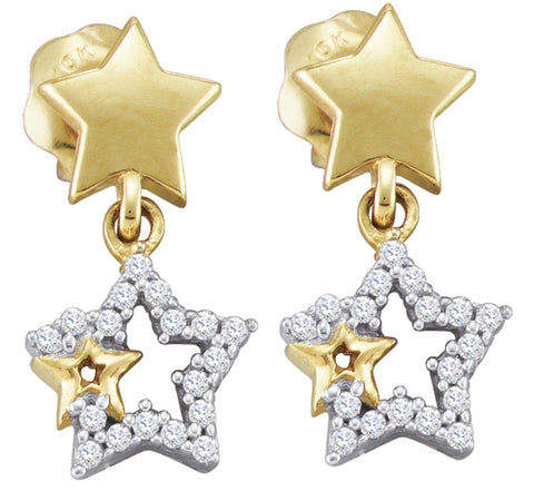 0.1CT Diamond 10K White Gold Star Earrings: