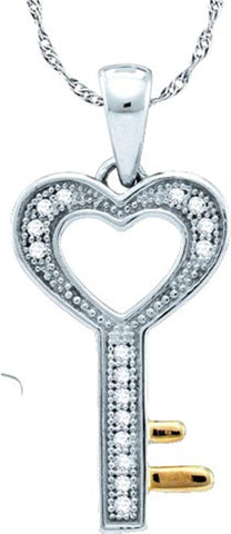 0.05CT Diamond 10K White Gold Key Pendant:
