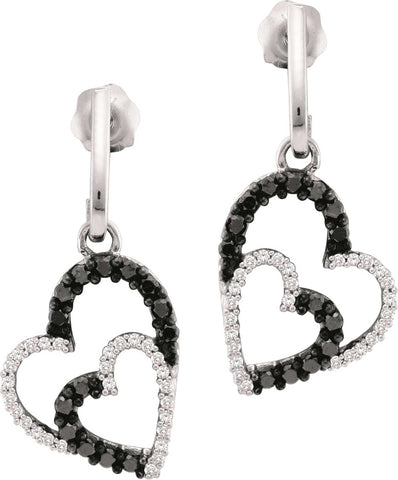 0.50CT Black/White Diamond 10K White Gold Heart Earrings: