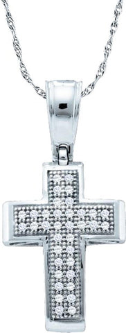 0.1CT Diamond 10K White Gold Cross Pendant:
