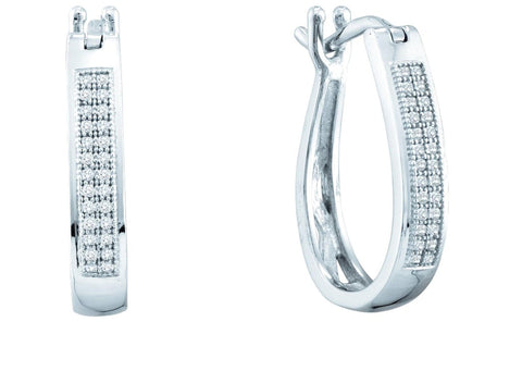 0.15CT Diamond 925 Sterling Silver Micropave Hoop Earrings: