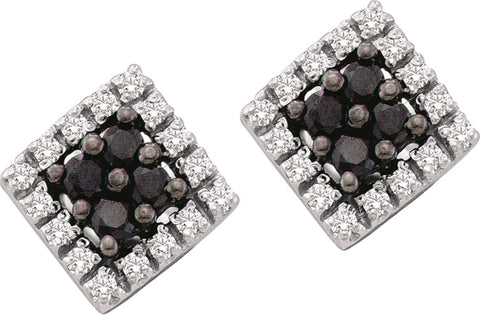 0.25CT Black/White Diamond 10K White Gold Earrings: