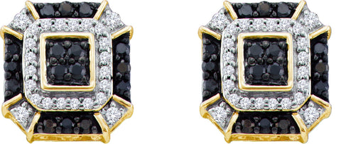 0.48CT Black/White Diamond 10K Yellow Gold Earrings: