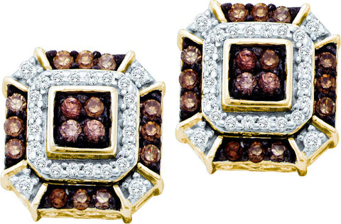 0.48CT Chocolate Brown/White Diamond 10K Yellow Gold Earrings: