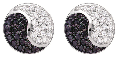 0.36CT Black/White Diamond 10K White Gold Earrings: