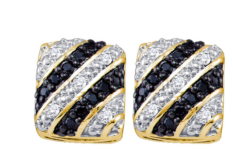 0.27CT Black/White Diamond 10K Yellow Gold Earrings: